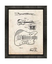 Clarence Fender Electric Guitar Patent Print Old Look with Beveled Wood ... - $24.95+