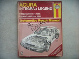Acura Intergra & Legend  Haynes Repair Manual, Service Guide 1986-1990. ... - $11.73
