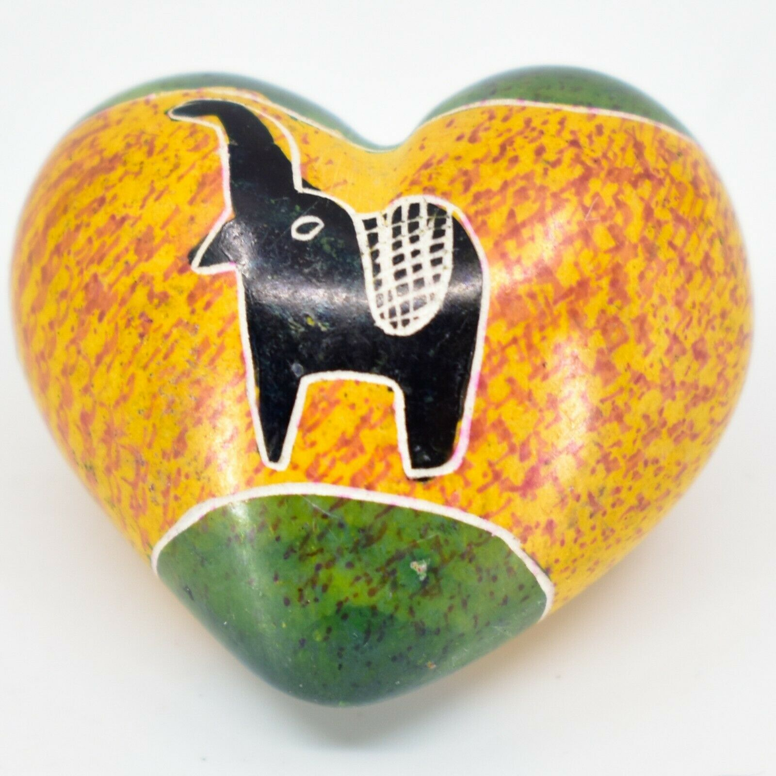 SMOLArt Hand Carved Soapstone Miniature Elephant Heart Trinket Figurine Kenya