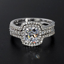 925 Silver White Cz Solitaire W/ Accent 2 PCS.Special Bridal Set & Free Shipping - $104.91