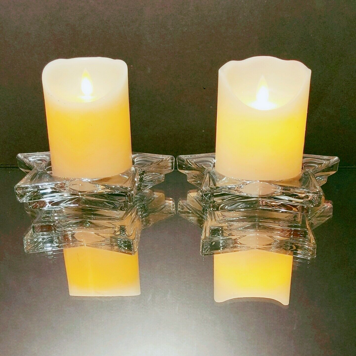 2 (Two) HOME INTERIORS Lead Crystal Pentacle Star Candle Base
