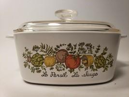 Vintage Corning Ware Ceramic Bakeware 1 1/2 qt  A-1 1/2-B - Le Persil La Sauge  - $19.99