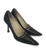 Jimmy Choo Women's Black Stiletto Heel Pumps Perforated Toes Made Italy ... - $121.43