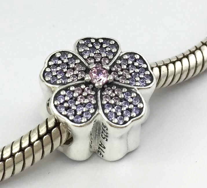 Primary image for Authentic Pandora Sterling Silver Sparkling Primrose Bead Charm 791481PCZ New