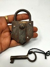 Antique Iron Padlock Germany Iron Spring System Lock Hand Forged Collect... - $64.52