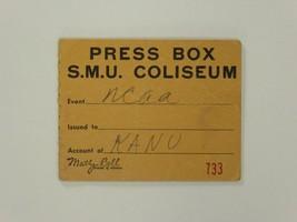 Press Box Pass SMU Southern Methodist University NCAA Kansas University ... - $34.64