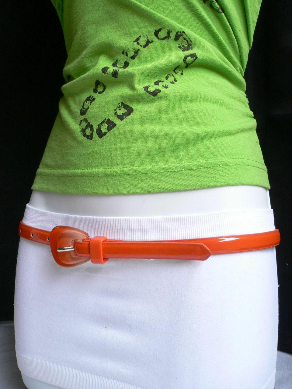 Neu Damen Mode Gürtel Trendy Skinny Hell Orange Kunstleder Schnalle S M image 7