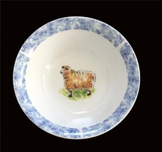 "Tabletops Unlimited COUNTRY BARN Sponged Border Sheep Serving 9-1/2"" Bowl DISC - $18.99"