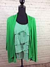 Notations Green and White Long Sleeve Layered Look Shirt Size Large - $9.99