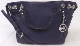 NEW MICHAEL KORS JET SET CHAIN ITEM LARGE GATHER SHOULDER TOTE NAVY LEAT... - $165.00