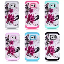 Lotus Heavy Hybrid Rubber Front Back Case Cover For Samsung Galaxy S6 Edge - $5.99