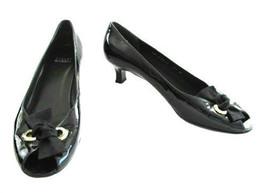 Stuart Weitzman Black Patent Leather Open Toe Shoe size 8 1/2 M - $42.00
