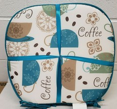 """Set of 4 CHAIR PADS CUSHIONS w/blue strings,15""""x15"""",COLOR COFFEE CUPS & ... - $21.77"""
