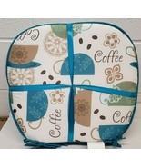 """Set of 4 CHAIR PADS CUSHIONS w/blue strings,15""""x15"""",COLOR COFFEE CUPS & ... - £16.54 GBP"""