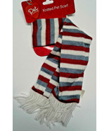 DanDee Pet Scarf New Stripes knitted fringe white red blue Dog Cat clothing - $5.00