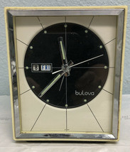Vintage Mid Century Bulova Table Click With Alarm And Dates Wind Up - Wo... - $28.05