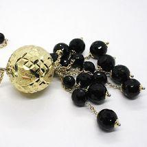 Collier Argent 925, Jaune, Grand Sphère Tricotée, Chute Onyx Noir image 5