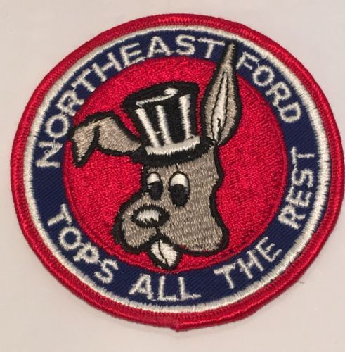 """Northeast Ford Tops All The Rest Round Embroidered Patch Rabbit Top Hat 3-3/4"""""""