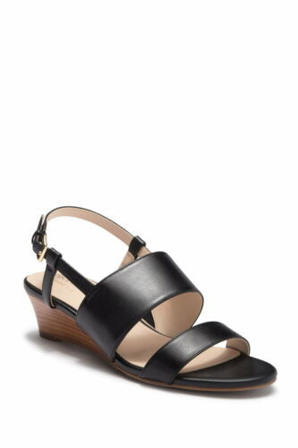 Cole Haan Women Slingback Wedge Sandals Annabel Grand Size US 6B Black Leather - $36.74
