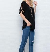 Cold Shoulder Top, Knotted Short Sleeves V Neck, Plus Size Tunics, Black image 3