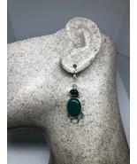 Vintage Filigree Genuine Green Chrysoprase 925 Sterling Silver Earrings - $51.47