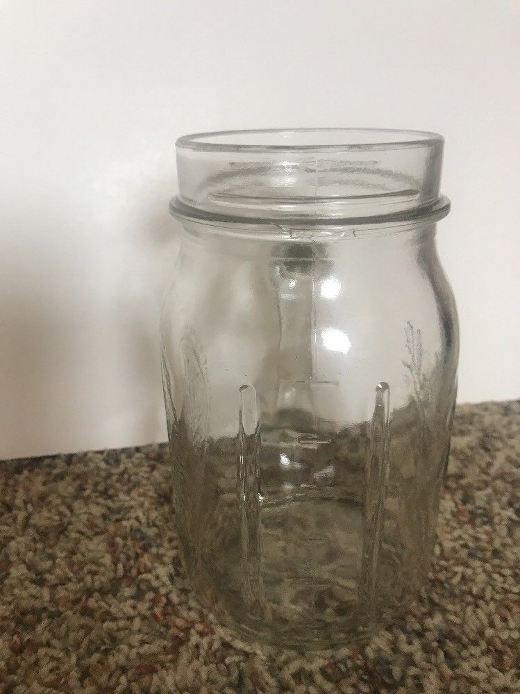 Ball Mason Clear Glass Drinking Jar Handled Lg 24 Oz Wide Mouth Embossed Fruit