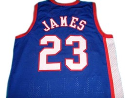 Lebron James #23 High School All American Basketball Jersey Blue Any Size image 2