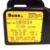 NEW BUSSMANN EATON 1B0034 H60060-2C FUSE BLOCK 2 POLE CLASS H 600V-60A H600602C image 4