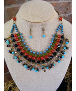 CARNELIAN TURQUOISE ONYX GREEN GLASS ANTIQUED GOLD CHAIN  NECKLACE & EAR... - $15.83