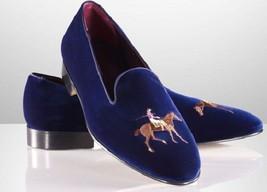 Mens shoes, velvet embriodered shoes, men black or blue casual velvet slippers - $84.99