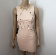 NWT Bebe Stone Embellished Bodycon Mini Dress Size XXS Light Pink - $98.98