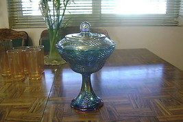 Vintage Iridescent Blue Carnival Glass Wedding Bowl Candy Dish Compote w... - $39.60