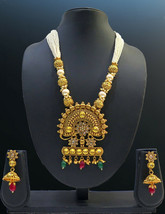 ONE GRAM GOLD PLATED PEARL BEADED BIG PENDANT NECKLACE JHUMKA EARRINGS - $35.63
