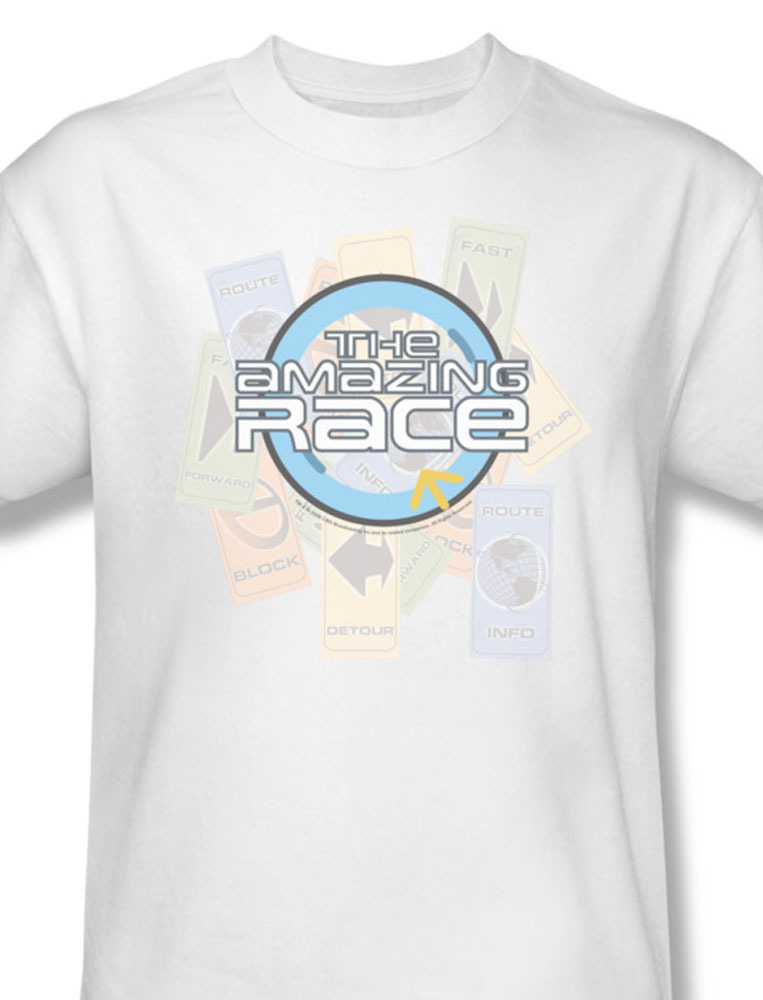 The amazing race reality series phil keoghan team challenges white for sale tee  cbs121 at