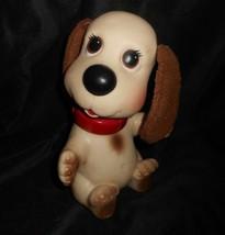 "10"" Vintage 1982 Ideal Rub A Dog Doggie Creme Puppy Rubber Bath Toy Doggy Pup - $36.47"