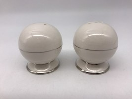 Salt & Pepper Shakers Noritake 2612 Diana Platinum Trim Fine China (4410B) - $11.11