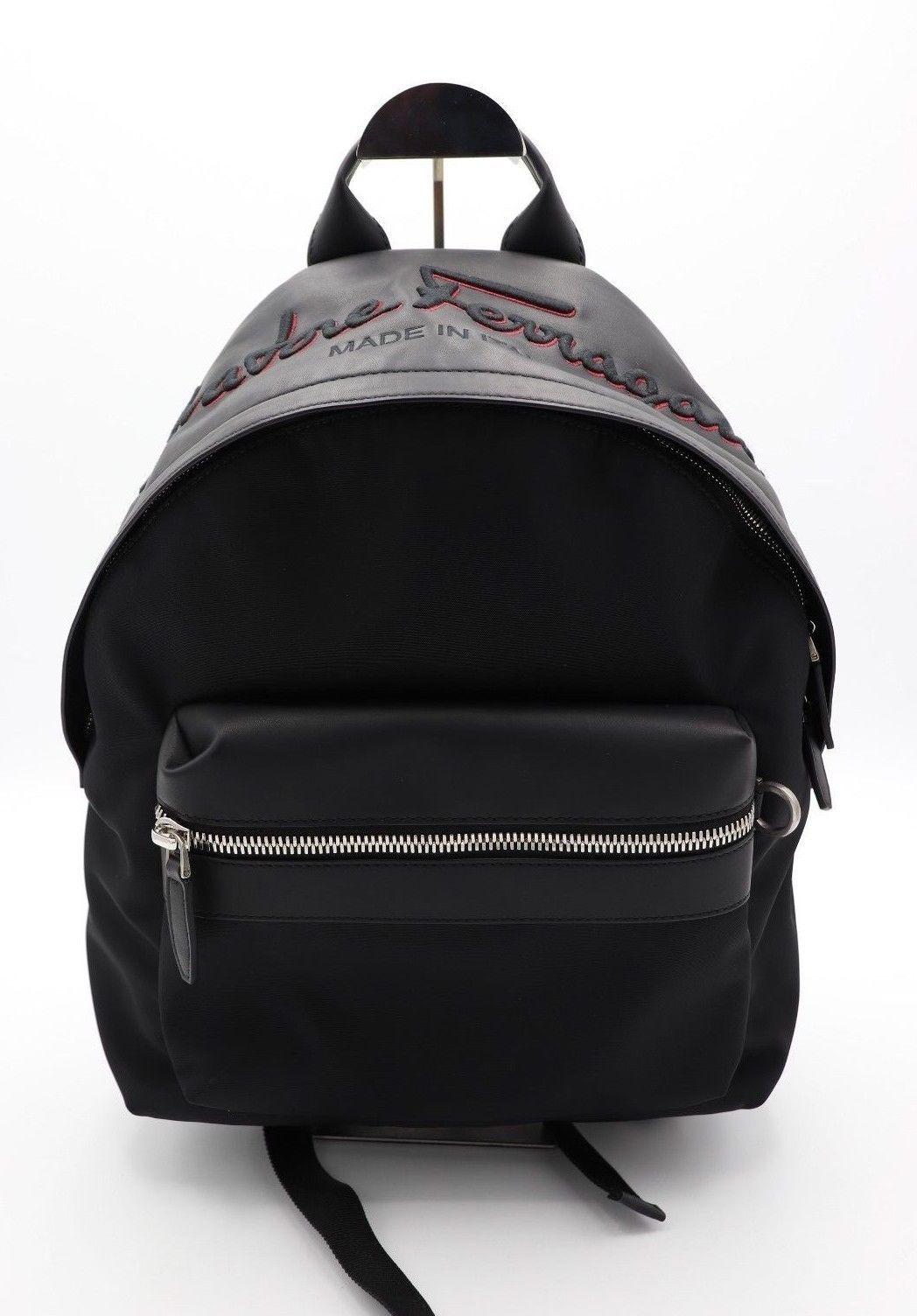 bf231f1911 57. 57. Previous. NWT Salvatore Ferragamo Black Red Leather Nylon Embroidered  Logo Backpack Bag