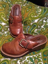 Earth Shoe Pine Women's Brown Leather Slides Mules Sz 5.5M Sandals Buckle Strap - $24.74