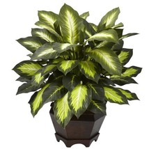 Nearly Natural 6720 Triple Golden Dieffenbachia Plant with Wood Vase, Green - $53.80