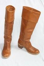 Vtg Frye 7 B 8503 Cognac Leather Wood Stacked Heel Knee High Boots USA - $64.60