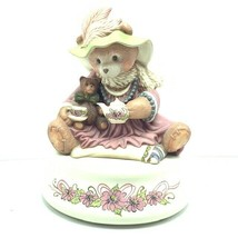Music Box Teddy Bear cub Thank Heaven Little Girls signed pink floral fi... - $74.25