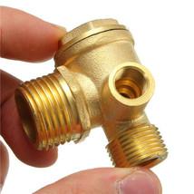 USA 3 Port Brass Central Pneumatic 40400 Air Compressor Check Valve Thread 90deg - $13.90