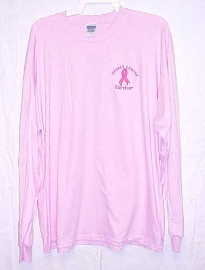Breast Cancer T Shirt 2XL Awareness Ribbon Survivor Long Sleeve Embroidered Pink