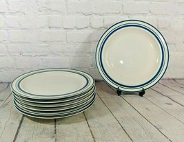 "Vintage Olde Town Collection Blue Stripe Dinner Plates (Set of 7) 10 1/2"" - $49.49"