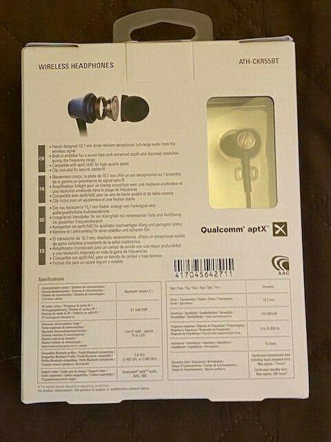 Audio Technica ATH-CKR55BTBL Sound Reality Bluetooth Earphones BlUE- -Brand New
