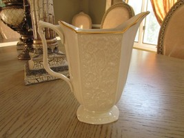 """LENOX CHINA CAROLINA PITCHER DECORATED WITH 24 KT GOLD MADE IN USA 7.75""""H - $16.78"""