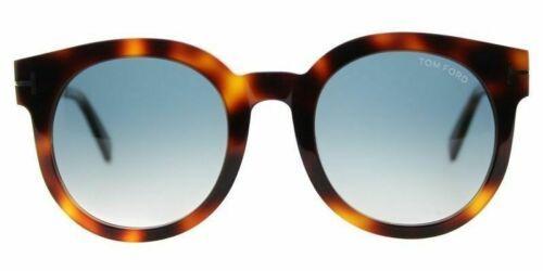 Tom Ford Men Rounded Sunglasses TF0435 52P Havana Frame Blue Gradient Lens