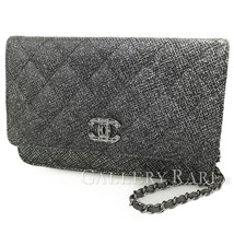 CHANEL Chain Wallet Leather Black Matelasse CC A69163 Italy Authentic 53... - $1,838.62