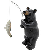 Animal World Black Bear Fishing Resin Figurine Home Decor - £14.09 GBP