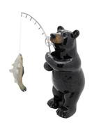 Animal World Black Bear Fishing Resin Figurine Home Decor - $19.79
